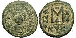 1 Фолліс Візантійська імперія (330-1453) Бронза Маври́кій (539-602)