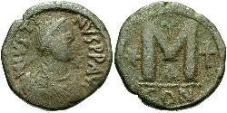 1 Фолліс Візантійська імперія (330-1453) Бронза Юстин I (450-527)