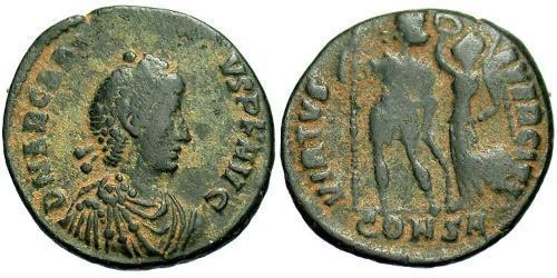 1 Фолліс /  AE4 Візантійська імперія (330-1453) Бронза Аркадій (377-408)