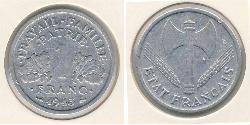 1 Франк Французское государство режима Виши (1940-1944) Алюминий