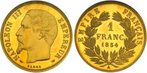 1 Франк Second French Empire (1852-1870) Золото Наполеон ІІІ Бонапарт (1808-1873)
