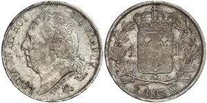 1 Франк Kingdom of France (1815-1830) / Франция Серебро Людовик XVIII (1755-1824)