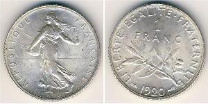 1 Франк Третья французская республика (1870-1940)  Серебро/Никель