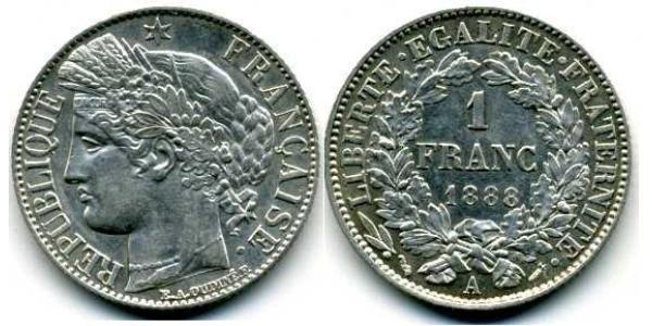 1 Франк Третя французька республіка (1870-1940)  Срібло