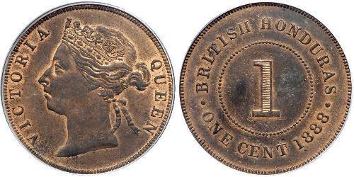 1 Цент Британский Гондурас (1862-1981) Бронза Вікторія (1819 - 1901)