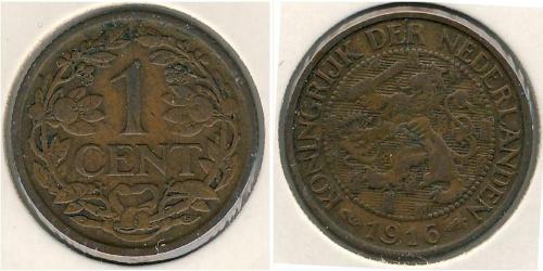 1 Цент Королевство Нидерланды (1815 - ) Бронза Вильгельмина(1880 - 1962)