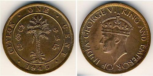 1 Цент Шри Ланка/Цейлон Бронза Георг VI (1895-1952)