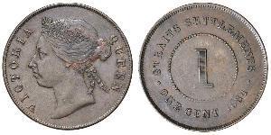 1 Цент Стрейтс-Сетлментс (1826 - 1946) Бронза/Медь Виктория (1819 - 1901)