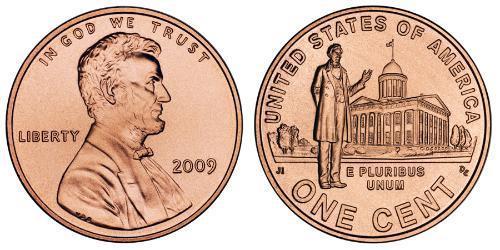 1 Цент США (1776 - ) Цинк/Мідь Авраам Лінкольн (1809-1865)