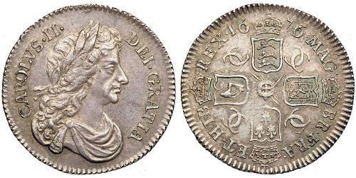 1 Шестипенсовик Королевство Англия (927-1649,1660-1707) Серебро Карл II (1630-1685)