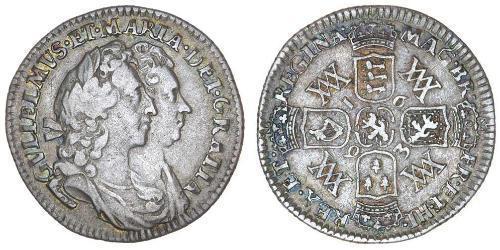 1 Шестипенсовик Королівство Англія (927-1649,1660-1707) Срібло Вільгельм III (1650-1702)