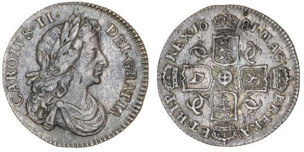 1 Шестипенсовик Королівство Англія (927-1649,1660-1707) Срібло Карл II (1630-1685)