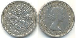1 Шестипенсовик / 6 Пенни Великобритания (1922-) Никель/Медь Елизавета II (1926-)