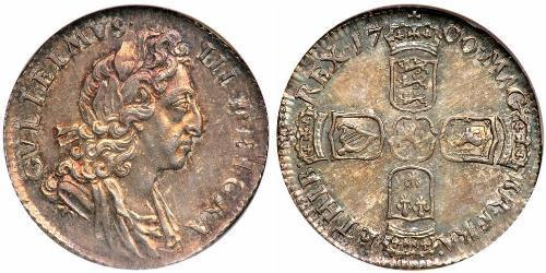 1 Шестипенсовик / 6 Пенни Королевство Англия (927-1649,1660-1707) Серебро Вильгельм III (1650-1702)