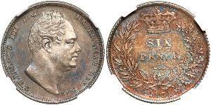1 Шестипенсовик / 6 Пенни Соединённое королевство Великобритании и Ирландии (1801-1922) Серебро Вильгельм IV (1765-1837)