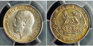 1 Шестипенсовик / 6 Пенни Соединённое королевство Великобритании и Ирландии (1801-1922) Серебро Георг V (1865-1936)