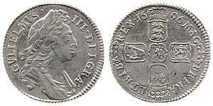 1 Шилінг Королівство Англія (927-1649,1660-1707) Срібло Вільгельм III (1650-1702)
