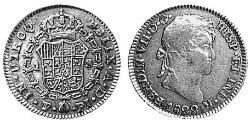 1 Эскудо Рио-де-ла-Плата (вице-королевство) (1776 - 1814) / Боливия Золото Фердинанд VII король Испании (1784-1833)