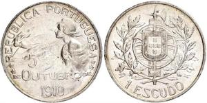1 Эскудо Первая Португальская республика (1910 - 1926) Серебро