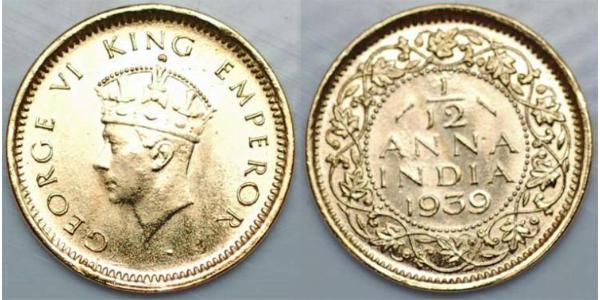 1/12 Анна Британська Індія (1858-1947) Мідь Георг VI (1895-1952)