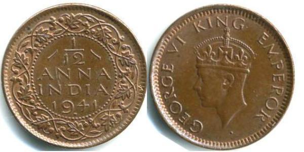1/12 Anna 英属印度 (1858 - 1947) 青铜 乔治六世 (1895-1952)