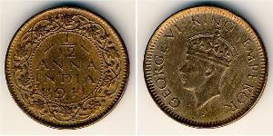 1/12 Anna British Raj (1858-1947) Bronze George VI (1895-1952)