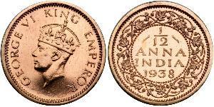 1/12 Anna British Raj (1858-1947) Copper George VI (1895-1952)