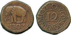 1/12 Rixdollar / 4 Стивер Шри Ланка/Цейлон Медь Георг III (1738-1820)