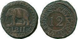 1/12 Rixdollar / 4 Стівер Шрі Ланка/Цейлон Мідь Георг III (1738-1820)