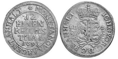 1/12 Thaler Anhalt-Dessau (1603 -1863) Argento Giovanni Giorgio II di Anhalt-Dessau(1627 – 1693)