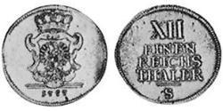 1/12 Thaler Principality of Ansbach (1398–1792) Silver Charles Alexander, Margrave of Brandenburg-Ansbach (1736 – 1806)