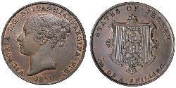 1/13 Shilling Jersey Cobre Victoria (1819 - 1901)