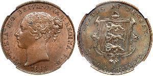 1/13 Shilling Jersey Cuivre Victoria (1819 - 1901)