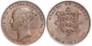 1/13 Shilling Isola di Jersey Rame Vittoria (1819 - 1901)