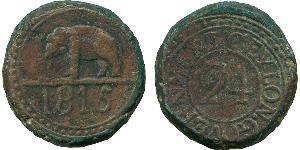 1/24 Rixdollar / 2 Stiver Sri Lanka/Ceylon Copper