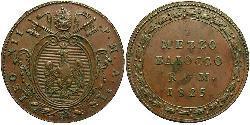 1/2 Байокко Папська держава (752-1870) Мідь Лев XII (1760 - 1829)