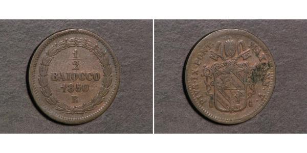 1/2 Байокко Папська держава (752-1870) Мідь Пій IX (1792- 1878)