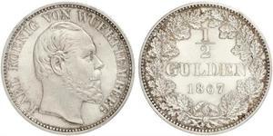 1/2 Гульден Королевство Вюртемберг (1806-1918) Серебро Карл I (король Вюртемберга)