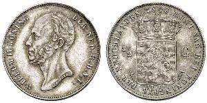 1/2 Гульден Королівство Нідерланди (1815 - ) Срібло William II of the Netherlands (1792 - 1849)