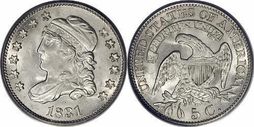 1/2 Дайм / 5 Цент США (1776 - ) Мідь/Срібло