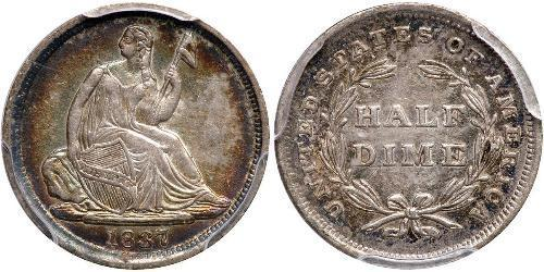 1/2 Дайм / 5 Цент США (1776 - ) Серебро/Медь