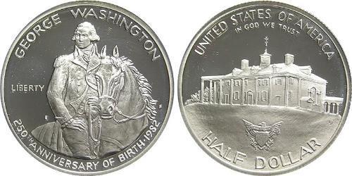 1/2 Долар США (1776 - ) Срібло Джордж Вашингтон