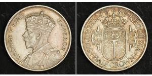 1/2 Крона(английская) Южная Родезия (1923-1980) Серебро Георг V (1865-1936)