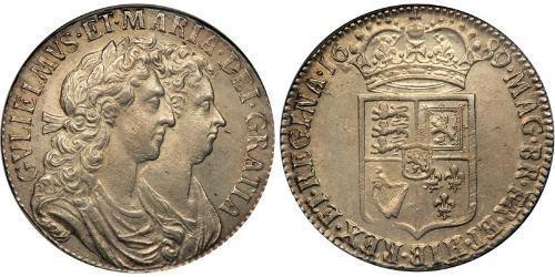 1/2 Крона(англійська) Королівство Англія (927-1649,1660-1707) Срібло Вільгельм III (1650-1702)