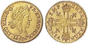 1/2 Луидор Королевство Франция (843-1791) Золото Людовик XIII, король Франции и Наварры (1601 - 1643)