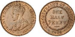 1/2 Пенни Австралия (1788 - 1939) Бронза Георг V (1865-1936)