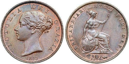 1/2 Пенни Соединённое королевство Великобритании и Ирландии (1801-1922) Бронза Виктория (1819 - 1901)
