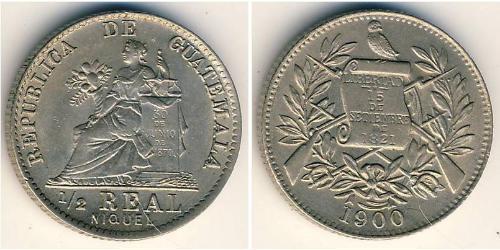 1/2 Реал Республика Гватемала (1838 - ) Никель/Медь