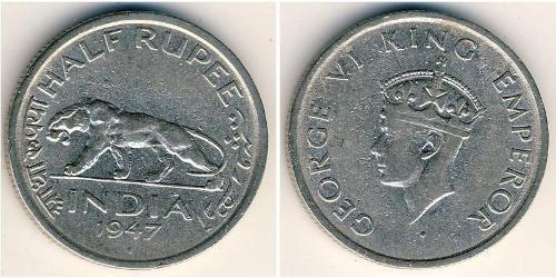 1/2 Рупия Британская Индия (1858-1947) Никель