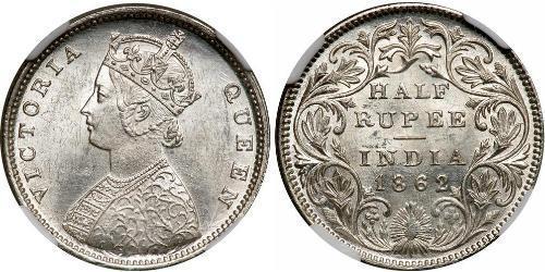 1/2 Рупия Британская Индия (1858-1947) Серебро Виктория (1819 - 1901)